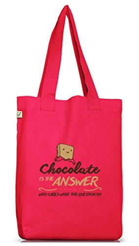 Shirtstreet24, Chocolate Is The Answer, Jutebeutel Stoff Tasche Earth Positive (ONE SIZE) Hot Pink