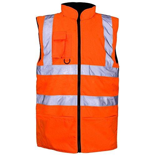 MyShoeStore Reflektierende Sicherheitsweste, Arbeitskleidung, hohe Sichtbarkeit, wasserdicht,  Vlies, gefüttert, wendbar, gepolstert, große Größen Gr. XXL, Orange