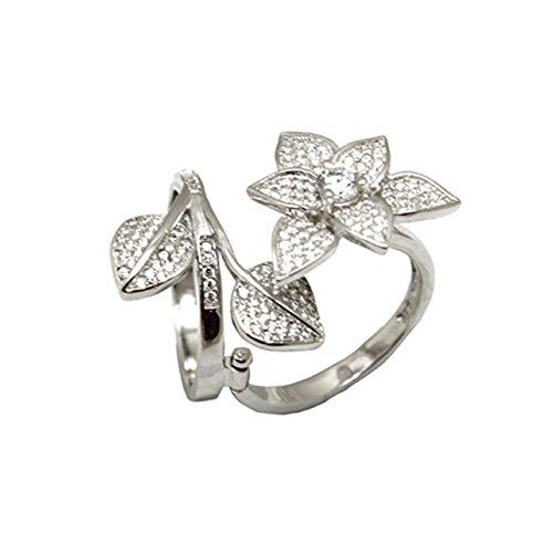 Sterling Argento CZ Mobili fiore foglie anello, argento, 62 (19.7), cod. BS-CR009-10
