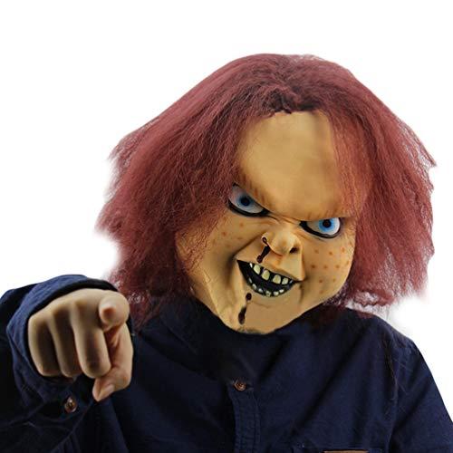 Xinwcanga Máscara De Terror De Halloween Látex con Diseño de Chucky The Killer Doll (Rojo, Talla única)