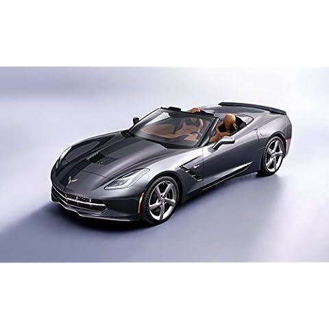 Classic y los músculos de los coches y COCHE Chevrolet Corvette Convertible arte (2014) coche Póster en 10 mil Archival papel satinado plateado vista lateral, papel, Silver Front Side View, 36