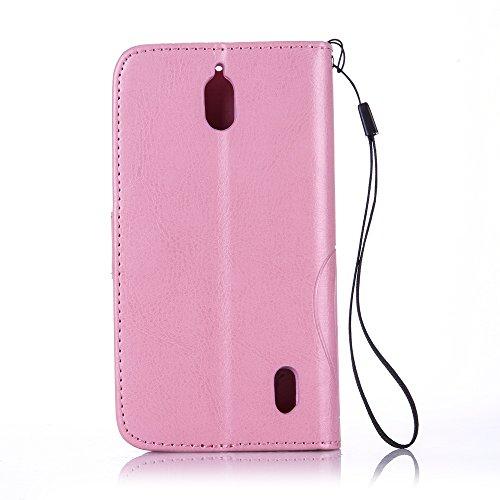 Wkae Case Cover Schmetterling und Blume Prägung Premium PU-Leder Tasche Cover Magnetischen Flip Wallet Stand Case Folio Stand Case mit Bling Diamond Resine Rhinestone Dekor für HUWEI Y625 ( Color : Pi Pink