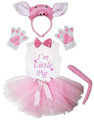 Petitebelle Ich bin kleines Schwein-Hemd-Rosa-Schwein-Stirnband Tutu Mädchen 5pc Kostüm 1-8Y 4-5 Jahre Hell-Pink