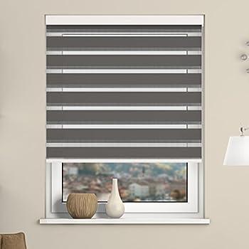 fensterdecor duo rollo doppelrollo mit aluminiumkassette grau 100 x 230 cm bxh. Black Bedroom Furniture Sets. Home Design Ideas