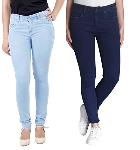 Adbucks Silky Cotton Lycra Stretchable Womens Jeans (Combo of 2) (36, Icyblue+Darkblue)