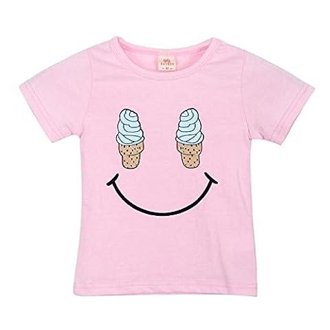 FEITONG Mode Enfant Fille Garçon Crème glacée Sourire Motif T-Shirt