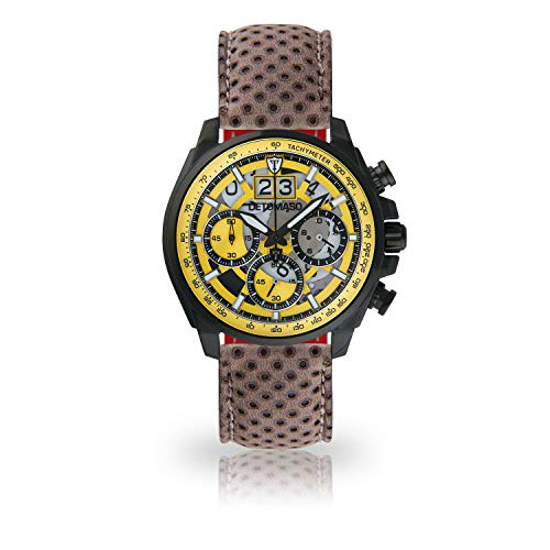DETOMASO LIVELLO Men's Wristwatch Chronograph Analogue Quartz Brown Leather Strap Yellow dial DT2060-A-846