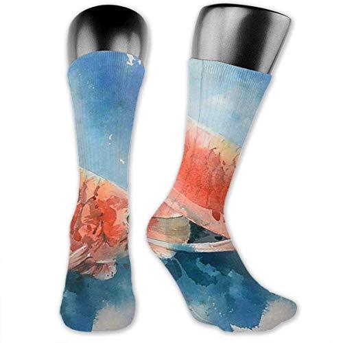 Unisex Performance Cushion Crew Socks Tube Socks Chinese Painting Fishes New Middle High Socks Sport Gym Socks -
