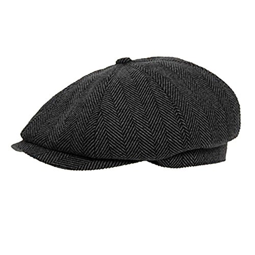 Dark Grey 8 Panel Herringbone Tweed Cap Herringbone Tweed Cap