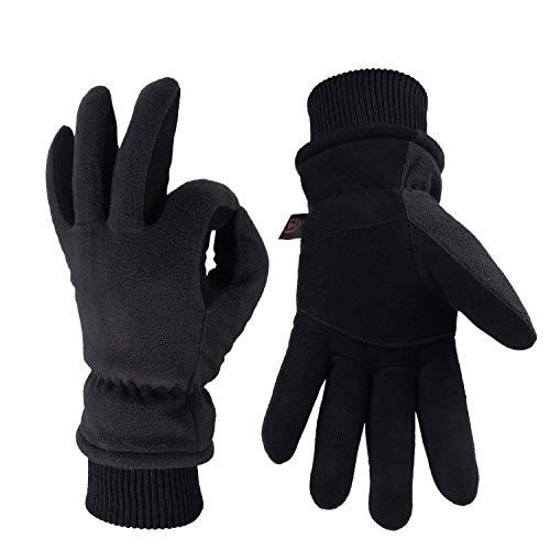 OZERO Winterhandschuhe,Thermal Winddicht Lederhandschuhe,1 Paar, Schwarz, XL