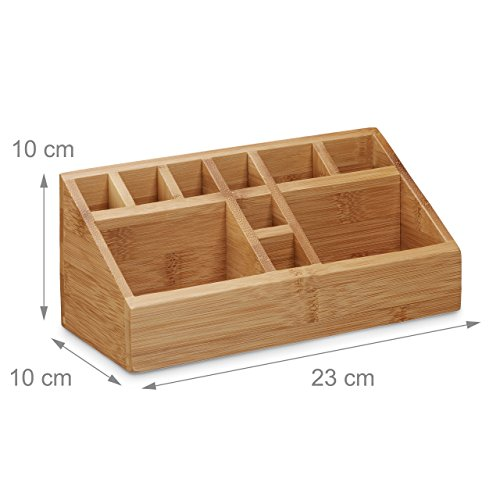 Relaxdays Schreibtischorganizer Bambus, Stifteköcher, 10 Fächer, natürliche Maserung, HxBxT: 10 x 23 x 10 cm, natur - 3
