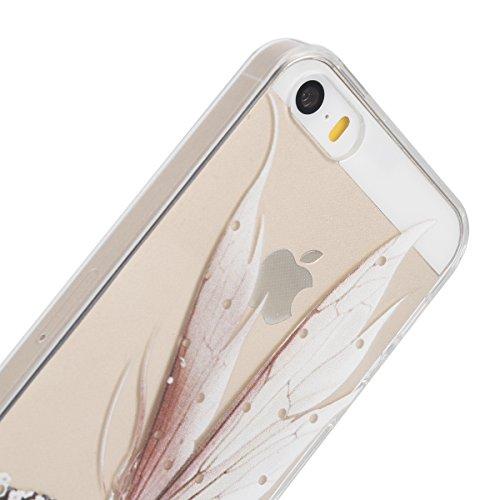 Apple iphone SE Transparent Silikon Case,iphone 5s hülle,Ekakashop Ultra dünn Slim Durchsichtig Transparente Muster Crystal Gel Silikon TPU Motiv Bumper Cas Schutzhülle Etui Tasche Cover Schutz Hüllen Flügel