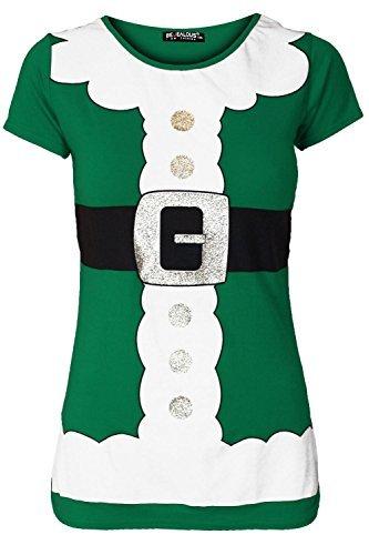 Oops Outlet Damen Kurzärmlig Weihnachten Rundhals Top Mit Gürtel Weihnachtsmann Kostüm Bedruckt Stretch T-Shirt - Grün, Übergröße (48/50)