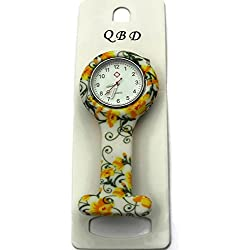 QBD Clip Series-Nurses Glowing Hands Red Cross Patterned Silicon Rubber Fob Watch - Yellow Flowers 20