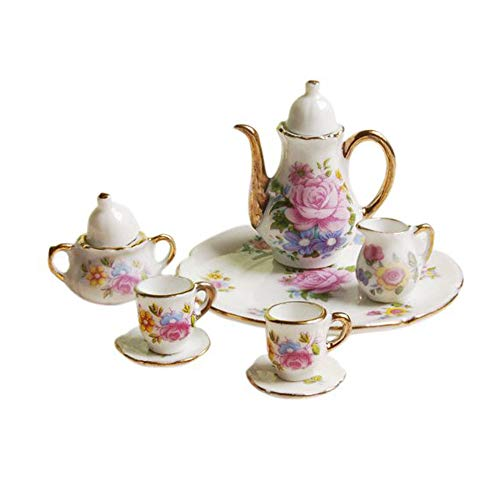 hahuha Toy 8pcs Essen Ware Porzellan Tee Set rosa Schale Tasse Platte 1/6 Puppenhaus Miniatur