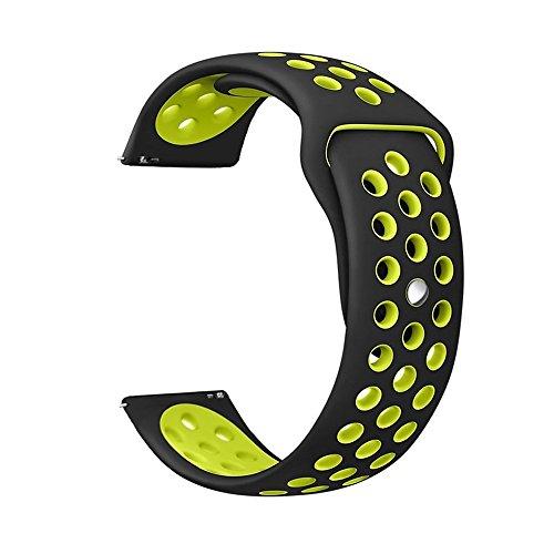 Ersatzband für Gear s3 Armband Silikon, MoTech 22mm Weich Uhrenarmband Sportarmband Silikonarmband Sport Silicone Band für Samsung Gear S3 Frontier / Classic, Moto 360 2nd Gen 46mm (Schwarz/ Gelb) (Samsung Armband Lg)