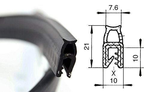 DO2 Dichtungsprofil von SMI-Kantenschutzprofi mit Dichtung oben - Klemmprofil und Dichtung aus EPDM Moosgummi - einfache Montage, selbstklemmend ohne Kleber - Klemmbereich 1-4 mm (3 m)