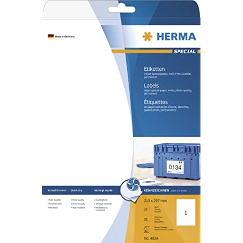 Herma 4824 - Pack de 25 etiquetas, 210 x 297 mm, color blanco