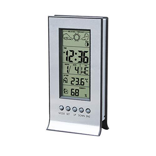 Vosarea Mini Digital Hygro-Thermometer Desktop Temperatur Luftfeuchtigkeit Monitor Wecker für Schlafzimmer Wohnzimmer Büro (Digital-thermometer-desktop)