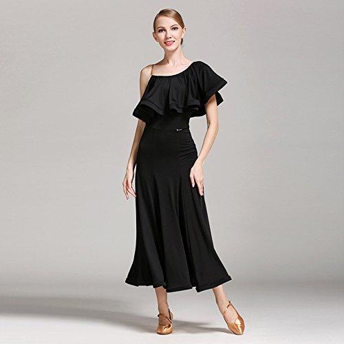 Pendel Lotus Leaf Ballroom Dance Kleid Modern Dance Dress Tango und Walzer Tanz Kleid Tanzwettbewerb Rock Strap Dress Dance Kostüm,Black,XL (Tanz Kostüme Strapse)