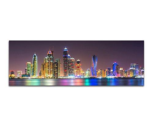 Panoramabild auf Leinwand und Keilrahmen 150x50cm Dubai Skyline Wasser Nacht Lichter