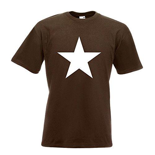 KIWISTAR - Stern Star Symbol T-Shirt in 15 verschiedenen Farben - Herren Funshirt bedruckt Design Sprüche Spruch Motive Oberteil Baumwolle Print Größe S M L XL XXL Chocolate