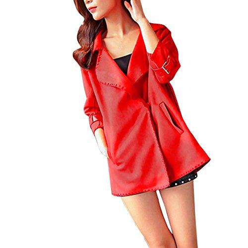 VEMOW Mode Elegant Damen Herbst Winter Windjacke Mantel Tops Oberbekleidung Casual Daily Outdoors Lose Solide Mantel(Rot, EU-40/CN-S)