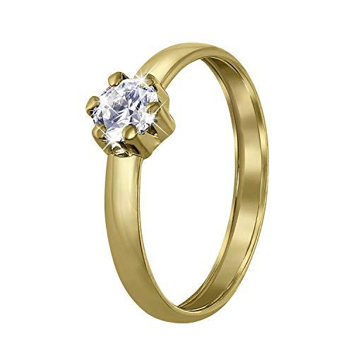 Lucardi - 585 Gold Damenring mit Zirkonia für Damen - 14 Karat (585) Gelbgold - Größe 57 (18.1) mm