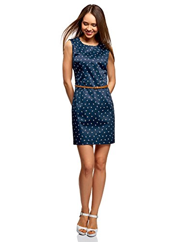Baumwoll-basics Kleid (oodji Ultra Damen Tailliertes Basic-Kleid mit Gürtel, Blau, DE 36 / EU 38 / S)