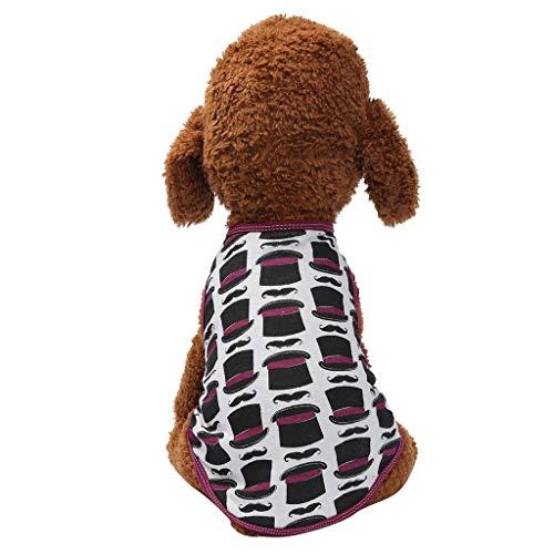 Timogee Hund Sommer Kleidung Welpen Hund Katze Weste Bequem Atmungsaktiv Hut Schnurrbart Drucken Hund Katze dünne Kleidung