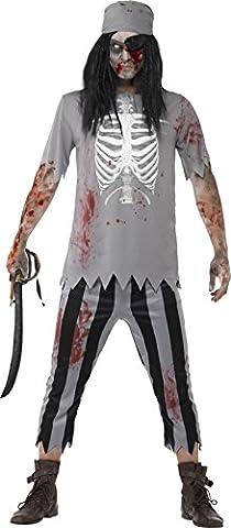 Smiffys, Herren Zombie-Pirat Kostüm, Oberteil, Hose, Kopftuch und Augenklappe, Größe: XL, 45957