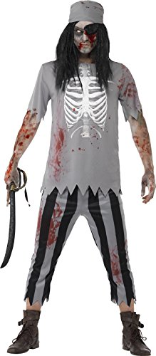 Smiffys, Herren Zombie-Pirat Kostüm, Oberteil, Hose, Kopftuch und Augenklappe, Größe: L, (Ideen Zombie Kostüm Piraten)