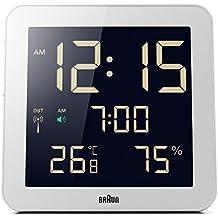 Braun BNC014WH-RC - Orologio digitale da parete con movimento radiocontrollato globale, colore: bianco