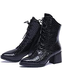 31f60ec906435 Zapatos de cuero para mujer Otoño e invierno Botas para mujer Puntiagudas  con botines de tacón alto Patrón de…