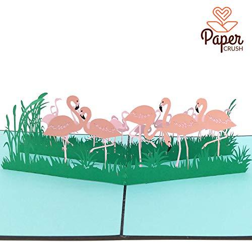 PaperCrush® 3D Geburtstagskarte Flamingo - Handgemachte Pop-Up Karte mit Flamingos zum Geburtstag inkl. Umschlag