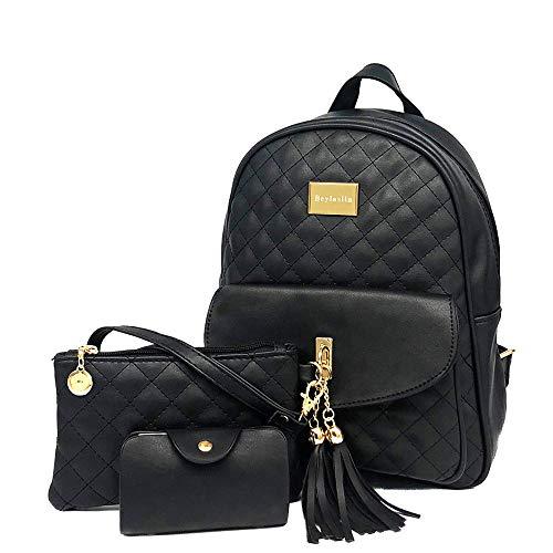 Beylasita® Damen Tasche Set 3 in 1 Daypack Kunstleder Rucksack Kleiner Backpack mit Clutch Geldbörse Kartenhalter Schwarz