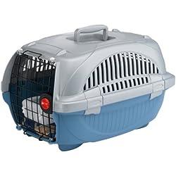 Feplast 73034899W1 Transportín para Gatos y Perros de Talla Pequeña Atlas Deluxe 20, Plástico Robusto, Puerta de Acero Plastificado, Rejillas de Ventilación, 37.4 x 57.6 x 33 Cm Azul Fuerza Aérea