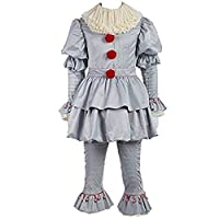 Clown Costume Creepy It Cosplay Joker Clown Suit Halloween Full Sets Outfit for Adults & Kids