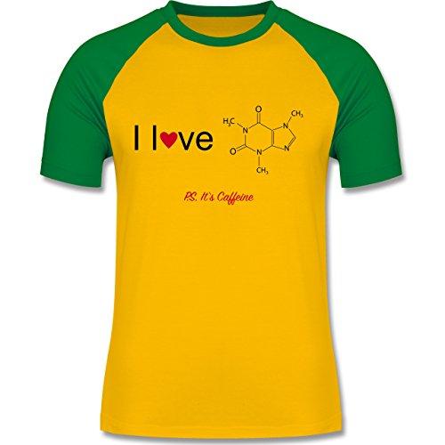 Nerds & Geeks - Strukturformel Koffein- I love Caffeine - zweifarbiges Baseballshirt für Männer Gelb/Grün