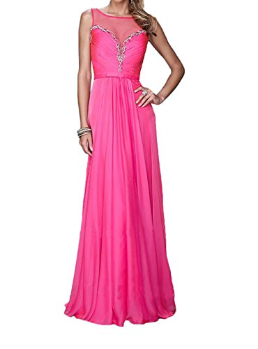 La_Marie Braut Pink Chiffon Perlen Abendkleider Brautjungfernkleider Partykleider sommer Festlichkleider Pink