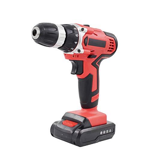 RFV Taladro de Litio de 21 V, Taladro de Pistola Recargable, Taladro Recargable de Doble Velocidad para Uso Doméstico de 16.8 V,Rojo,16.8V