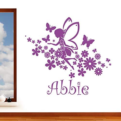 Fée volante filles Nom personnalisé avec papillons & fleurs sticker mural – Art de transfert de vinyle, pour chambre d'enfant, facile à appliquer, sans applicateur, faciles à décoller, Veuillez nous envoyer un message avec votre nécessaire Nom – (Veuillez Choisir votre taille et couleur de la sélection de boîtes) – par Rubybloom Designs, violet, Large 118cm x 111cm