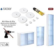 TATAY 4489901Glue & Fix Kit de fijación armario de baño de plástico blanco 11x 3x 19,5cm