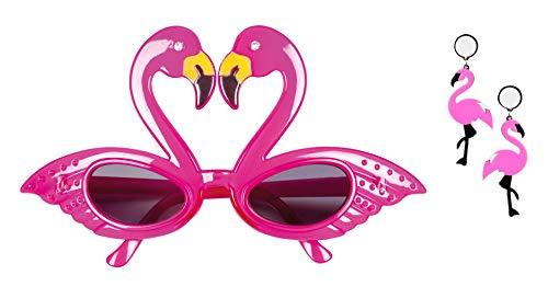 Panelize Flamingo Set Ohrringe pink mit Sonnen-Brille Hawaii Südsee Verkleidung Zubehör