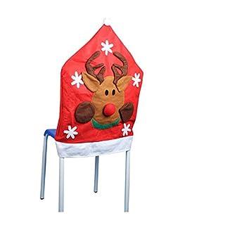 Ayouyou Weihnachts Stuhlhussen Weihnachtsdeko Stuhlüberzug Weihnachtsdekorationen Stuhlset (Elch)