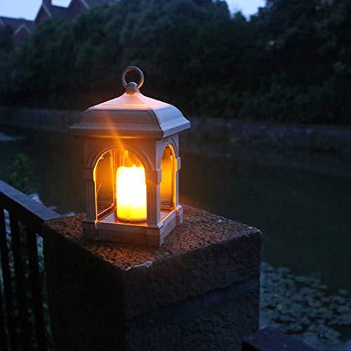 Außen Solar Laterne, Heuluced Solar Laternen Licht mit Kerzen Lichteffekt Solarlampe Gartendeko Solar Gartenlaterne für Aufhängen Weihnachten Dekorieren,1 Stück (Braun)
