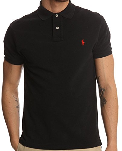 polo-ralph-lauren-homme-noir-pony-rouge-custom-fit-taille-s
