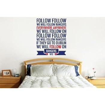 Follow Follow Rangers Song Wall Sticker Decal Football Art Print for Home  Bedroom Mural  Blue. Rangers wall art sticker Boys Bedroom wall sticker mural football