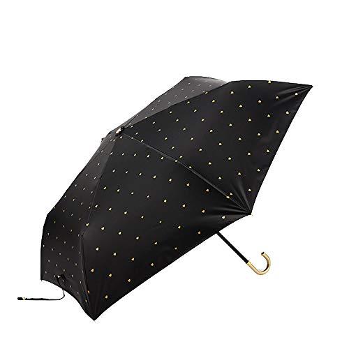 TOSBTD Kompakter, zusammenklappbarer Reiseschirm, herzförmiges Muster, dreifach zusammenklappbarer, ultraleichter Regenschirm Lady Sunblock - ergonomischer Griff,Black Micro Womens Hut