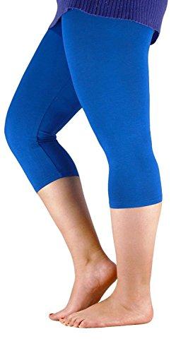Neu Damen Plus Größe Capri Hose 3/4 Leggings Strumpfhose Yoga Training Turnhalle Leggings Royal Blue 48 to 50